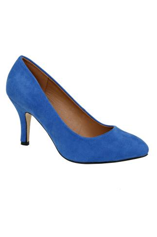 Blue COMFORT INSOLE Suedette Court Shoe In E Fit
