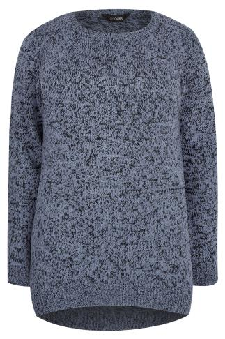 Blue Textured Jumper With Dipped Hem