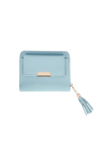 Blue Textured PU Zip Around Purse With Tab Pocket & Tassel