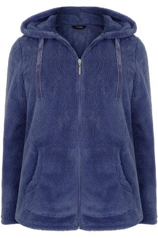 Polaires Blue Textured Zip Through Fleece 126046