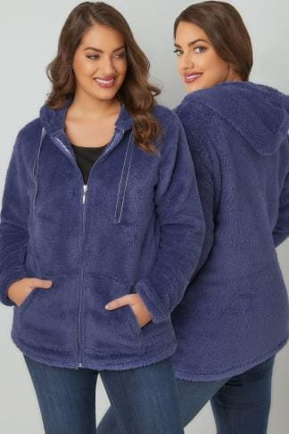 Fleece Blue Textured Zip Through Hooded Fleece 126046