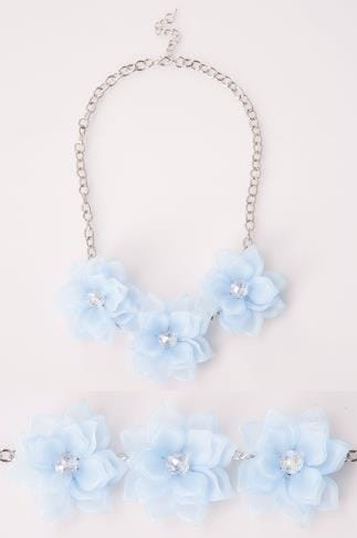 Blue Triple Flower Statement Necklace