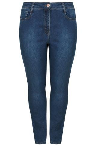 Blue Washed Denim 5 Pocket Skinny Jeans
