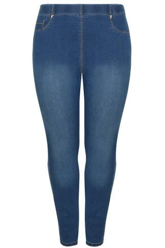 Blue Washed Pull On Stretch SHAPER Jeggings
