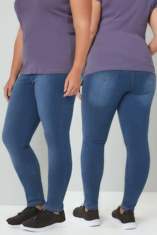 Shaper Jeans Blue Washed Pull On Stretch SHAPER JENNY Jeggings 142088