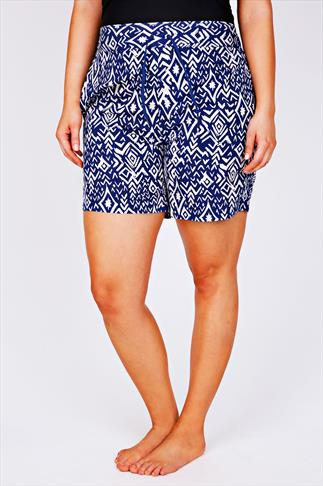 Swim Shorts Blue & White Aztec Print Board Shorts With Drawstring Waist 055449
