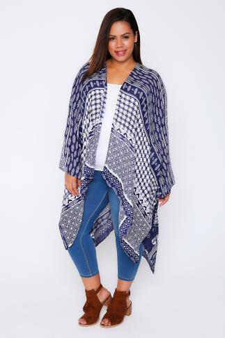 Blue & White Butterfly & Tile Print Lightweight Woven Wrap