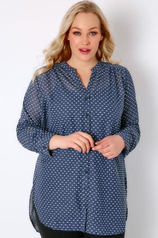 Blue & White Dotted Woven Shirt With Rolled Up Sleeves