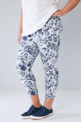 Blue & White Floral Print Pull On Stretch Cropped Jeggings 144010
