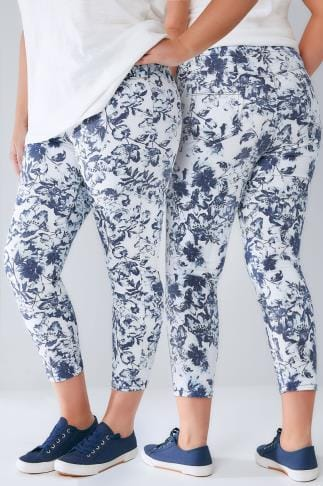 Jeggings Blue & White Floral Print Pull On Stretch Cropped Jeggings 144010