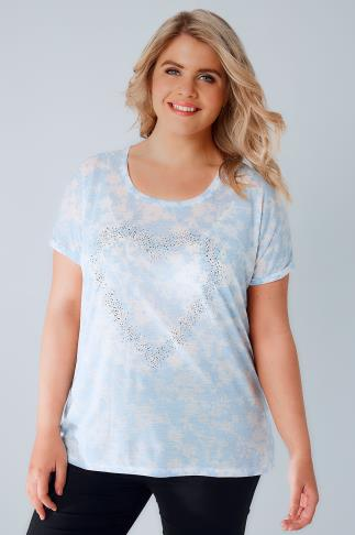 Jersey Tops Blue & White Floral Textured Jersey T-Shirt With Stud Heart Detail 170115