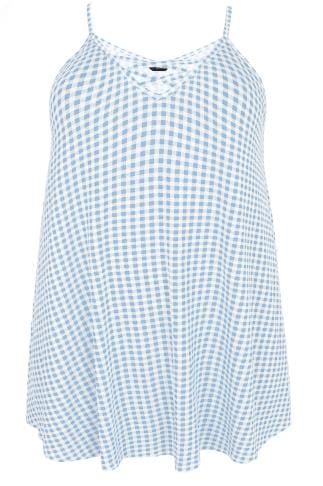 Blue & White Gingham Longline Cami Vest Top With Cross Front Detail