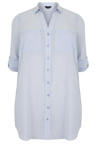 Blue & White Pinstripe Shirt With Tie Waist