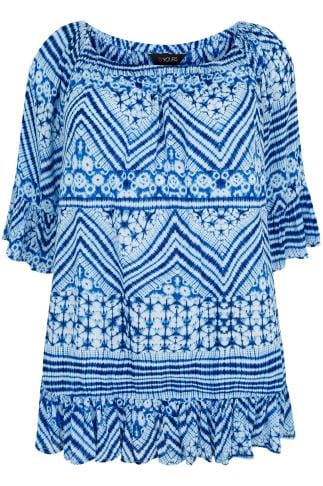 Blue & White Tie Dye Crinkle Top With Flared Hem & Cuffs 130066