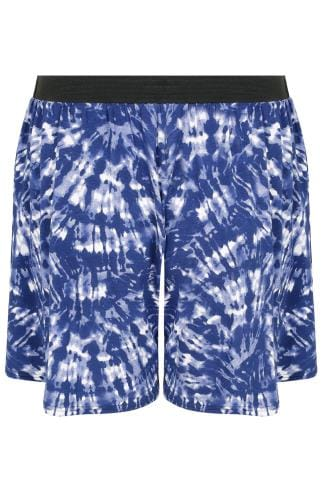 Blue & White Tie Dye Skater Shorts With Elasticated Waistband