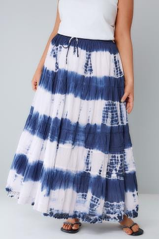 Maxi Skirts Blue & White Tie Dye Tiered Crinkle Maxi Skirt 160009