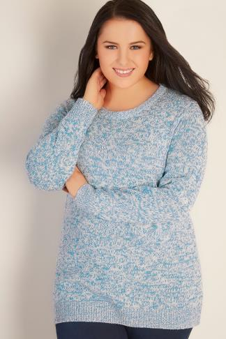 Blue & White Twist Knitted Longline Jumper 102735