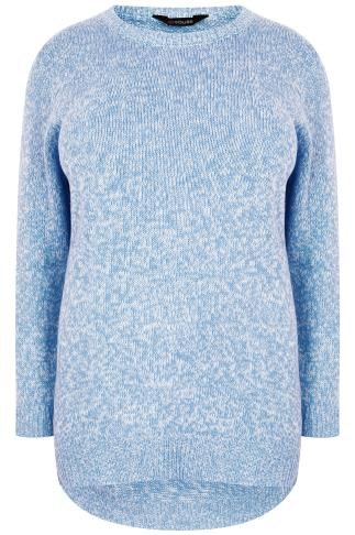Baby Blue & White Textured Jumper With Dipped Hem