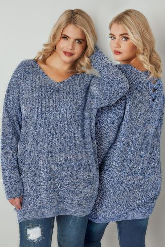 Jumpers Blue & White Yarn Jumper With Cross Over Back 124188