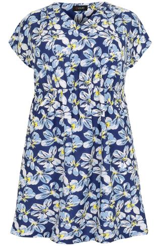 Blue, White & Yellow Floral Print Dress With Ruched Waist