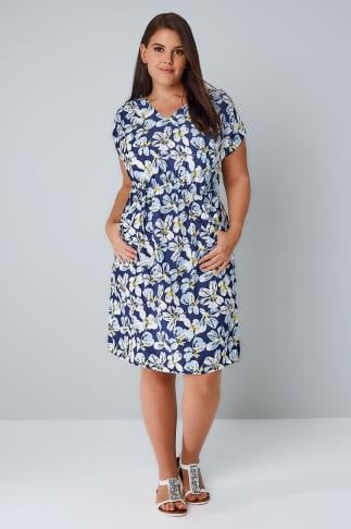 Skater Dresses Blue, White & Yellow Floral Print Dress With Ruched Waist 136012