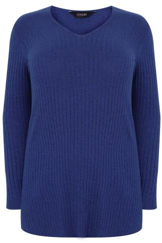 Blue Wool Blend Ribbed Jumper With Side Slit Detail