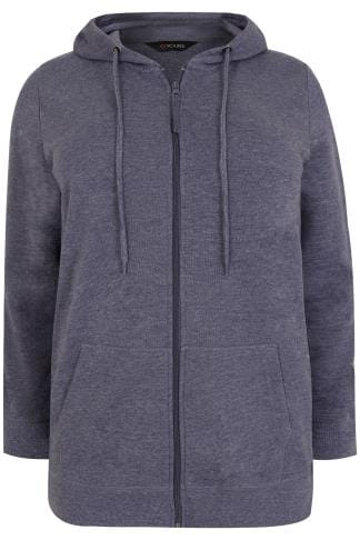 Blue Marl Zip Through Hoodie With Pockets