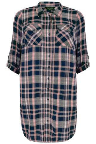 Navy & Pink Check Longline Duster Shirt With Pockets