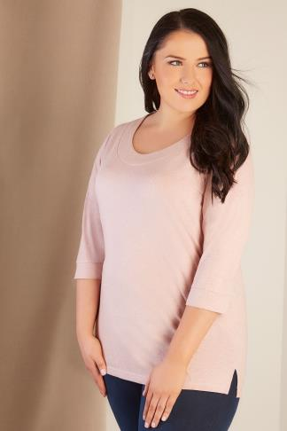 Blush Pink Band Scoop Neckline T-Shirt With 3/4 Sleeves