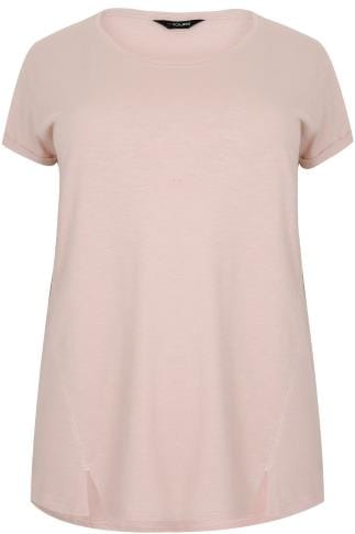 Blush Pink Boyfriend T-Shirt With Front Split Detail