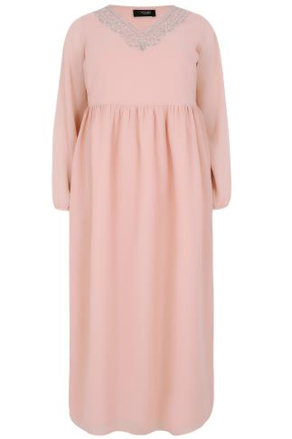Blush Pink Chiffon Maxi Dress With Embellished V-Neckline