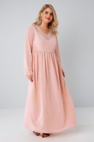 Maxi Dresses Blush Pink Chiffon Maxi Dress With Embellished V-Neckline 156078