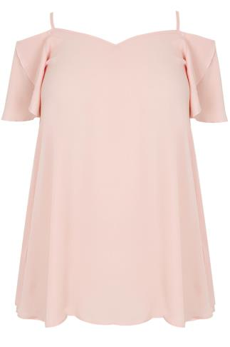 Blush Pink Cold Shoulder Gypsy Top