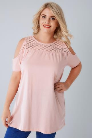 Jersey Tops Blush Pink Cold Shoulder Jersey Top With Lace Yoke 132060