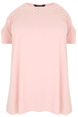 Blush Pink Cold Shoulder Jersey Top With Lace Yoke