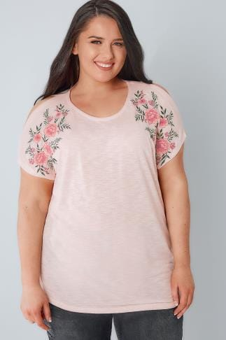 Bardot & Cold Shoulder Tops Blush Pink Cold Shoulder Knitted Top With Mirror Floral Embroidery 132218