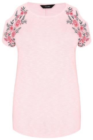 Blush Pink Cold Shoulder Knitted Top With Mirror Floral Embroidery