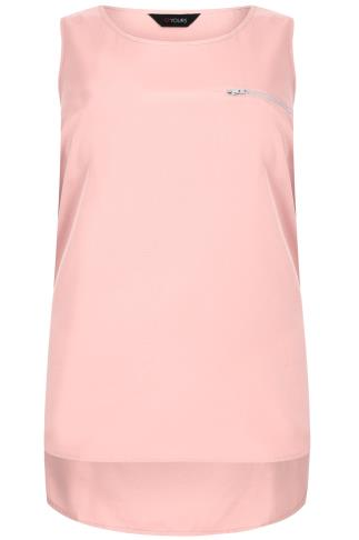 Blush Pink Dipped Hem Top With Zip Pocket Detail