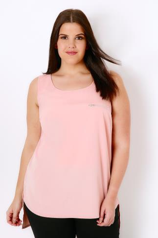 Sleeveless Tops Blush Pink Dipped Hem Top With Zip Pocket Detail 130003