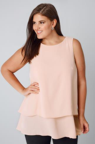 Longline Tops Blush Pink Double Layer Longline Top With Dip Hem 130081
