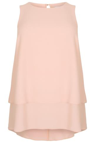 Blush Pink Double Layer Longline Top With Dip Hem