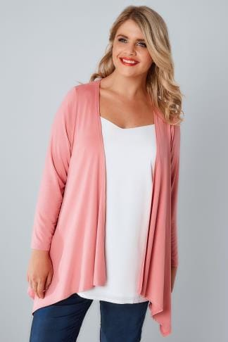 Jersey Cardigans & Shrugs Blush Pink Edge To Edge Waterfall Jersey Cardigan 134088