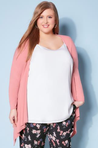 Blush Pink Edge To Edge Waterfall Jersey Cardigan