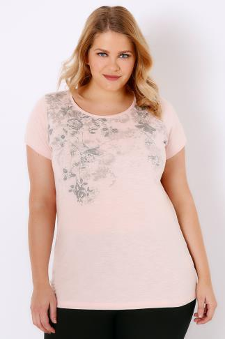 Blush Pink Floral Rose Print T-Shirt With Curved Hem