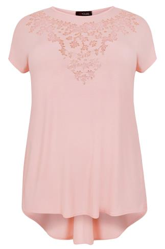 Blush Pink Godet Back Top With Floral Caviar Bead Detail