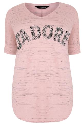 "Blush Pink ""J'adore"" Paisley Print Top With V-Neck"
