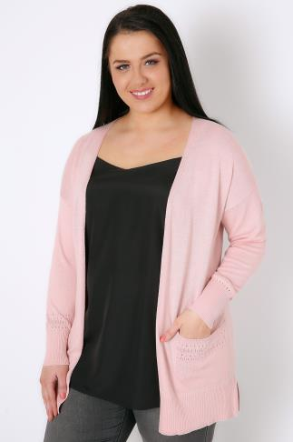 Blush Pink Longline Cardigan With Pointelle Pocket & Cuff Detail