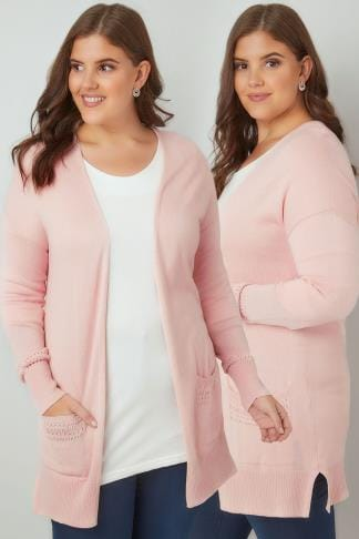 Cardigans Blush Pink Longline Cardigan With Pointelle Pocket & Cuff Detail 103079