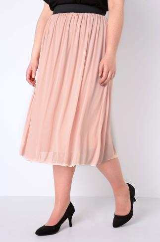 Blush Pink Mesh Tuelle Skirt With Elasticated Waist Band