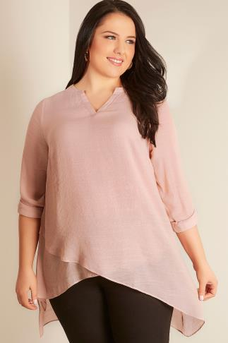 Blush Pink Notch Neck Silky Layer Blouse 103355
